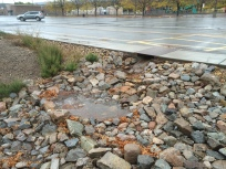 The rock spillway slows the velocity of the stormwater from the parking lot. Photo: Jim Brooks